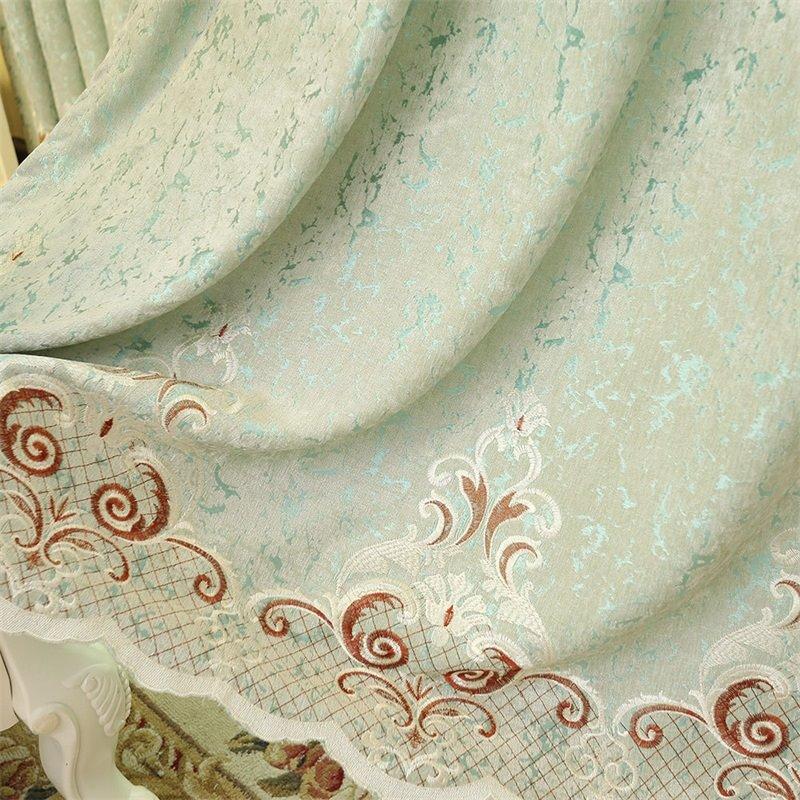 European ans Elegant Chenille Light Green Hollow out Custom Grommet Top Curtain