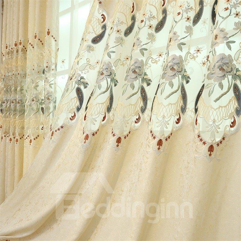 European Elegant Beige Chenille Decorative 2 Panels Living Room Curtain