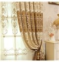 Elegant Chenille Embroidered Flowers Beige Custom 2 Panels Living Room Sheer Curtain