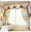 European Elegant Beige Chenille Decorative 2 Panels Living Room Sheer Curtain