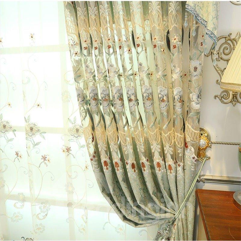 European ans Elegant Chenille Light Green Hollow out Custom Living Room Sheer Curtain