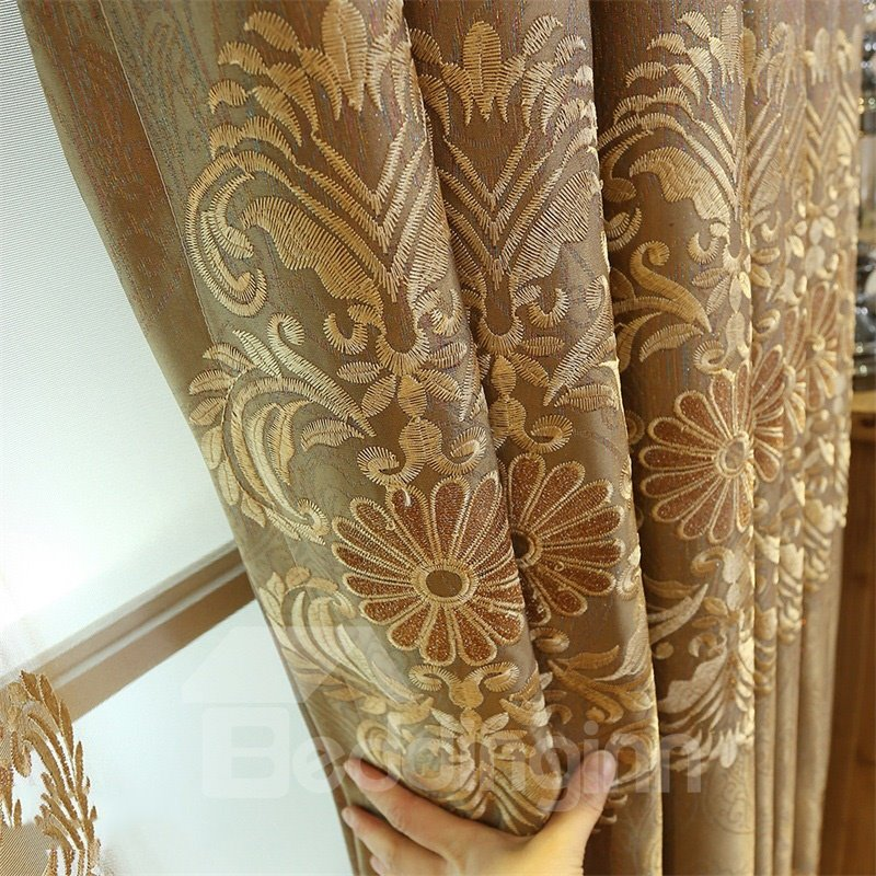 Retro Concise Style Embroidered Chenille Custom Grommet Top Curtain for Living Room