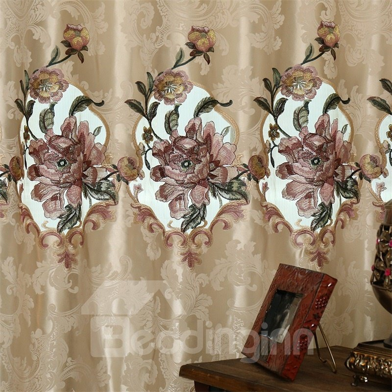 European Retro and Noble Style Dark Brown Embroidered Flowers Custom Grommet Top Curtain