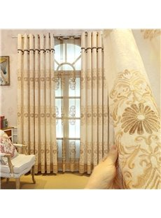 European and Elegant Style Chenille Decorative Custom Living Room Grommet Top Curtain