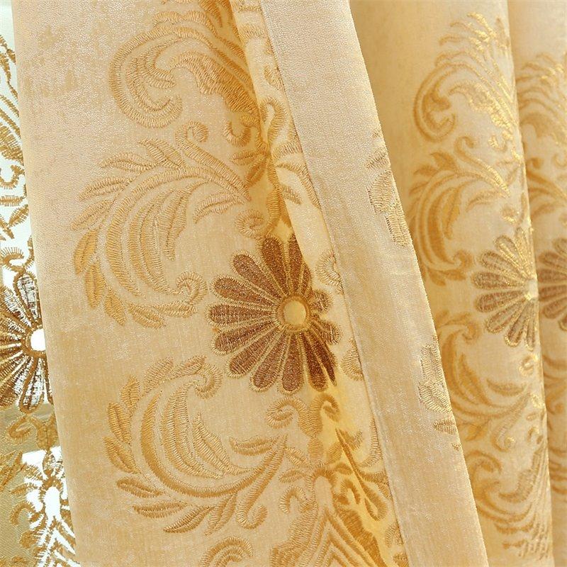 European and Elegant Style Chenille Decorative Custom Living Room Grommet Top Curtain
