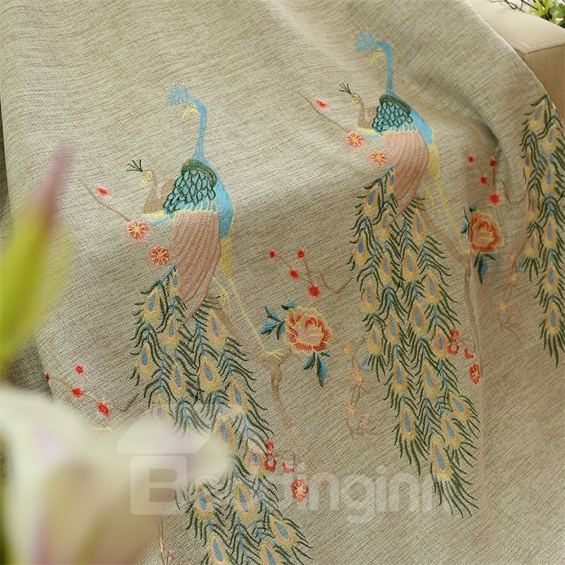 Concise and Modern Embroidered Peacock Dark Brown Custom Living Room Curtain