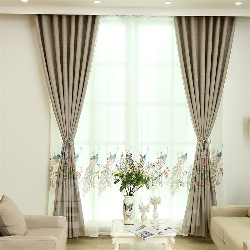Concise and Modern Embroidered Peacock Dark Brown Custom Sheer Curtain