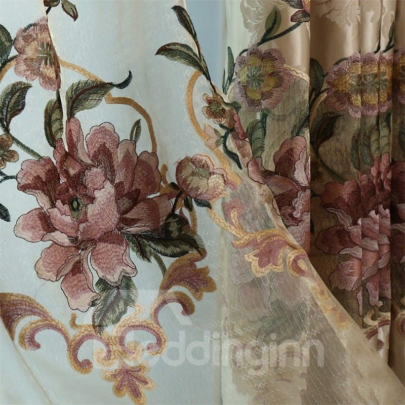 European Retro and Noble Style White Embroidered Flowers Custom Grommet Top Sheer Curtain