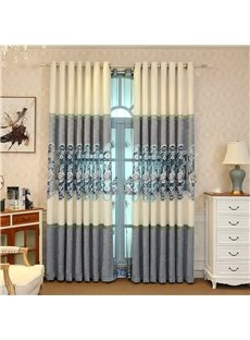 Elegant and Cozy Light Blue Embroidered Flowers Hollowed-out Designing Living Room Curtain