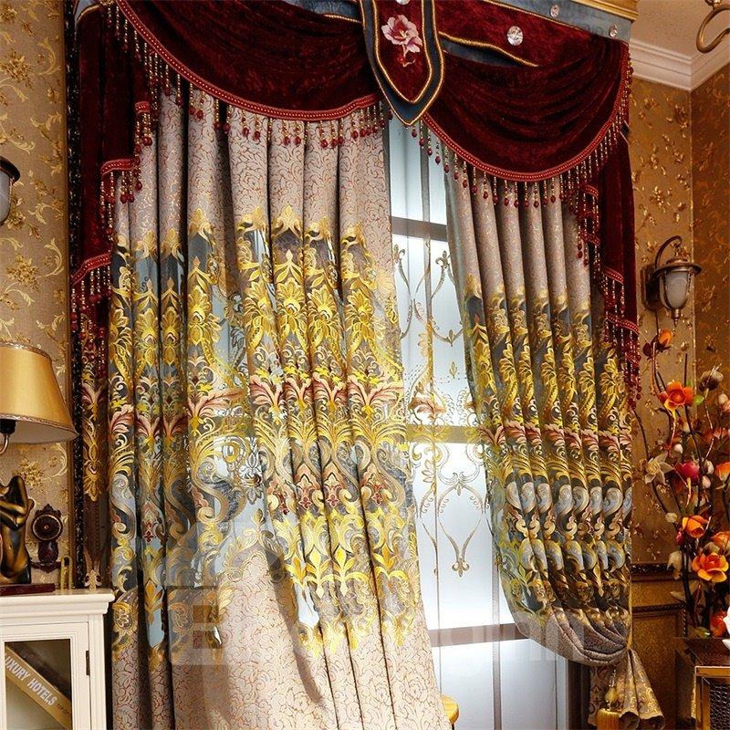 European Splendid Dark Brown Chenille Decorative and Blackout Grommet Top Curtain