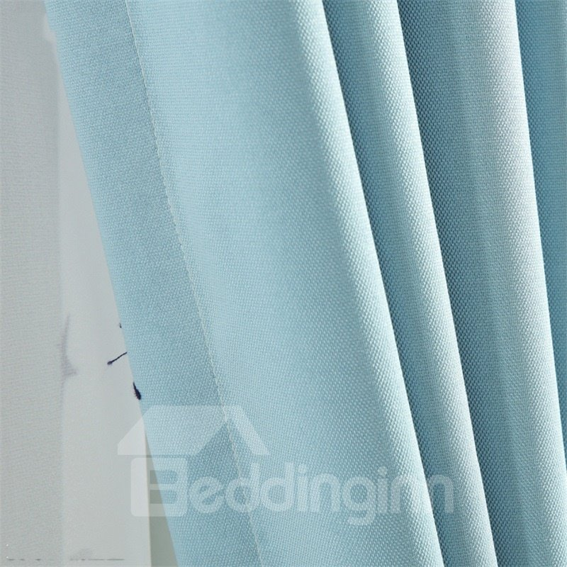 Concise and Modern Navy Blue 2 Panels Custom Grommet Top Curtain