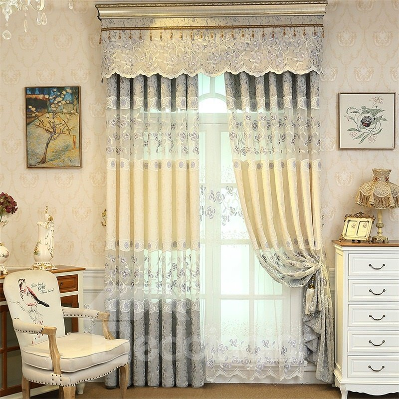 European Style Pastoral Blue and Beige Embroidered Flower 2 Panels Custom Curtain