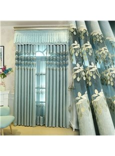 Romantic and Elegant Light Blue Thick Chenille Embroidered Flowers Decorative Living Room Drape