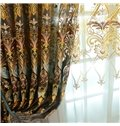 European Splendid Dark Brown Chenille Decorative and Blackout Grommet Top Sheer Curtain
