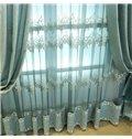 Romantic and Elegant Light Blue Embroidered Flowers Decorative Living Room Sheer Drape