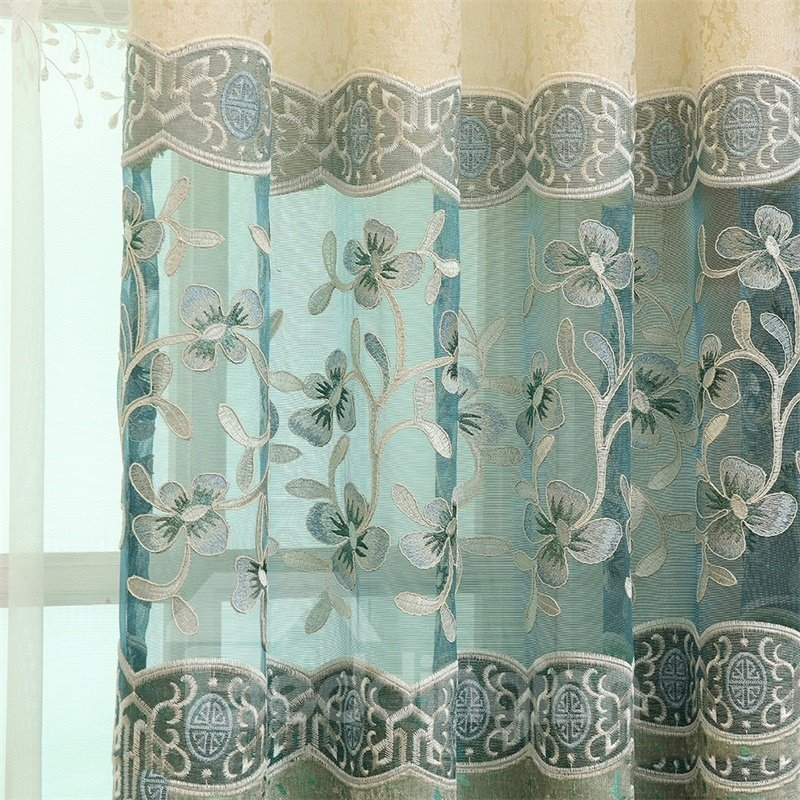 European Style Fresh Light Blue Embroidered Flowers Custom Living Room Curtain