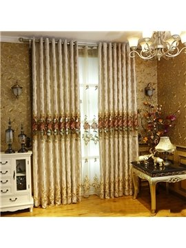 European Retro Style Embroidered Flowers Chenille Custom Living Room Curtain