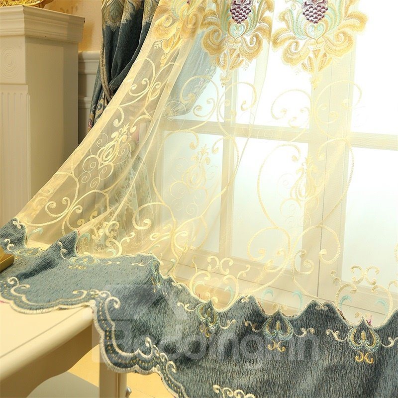 Classical Embroidered Damask Pattern Light Green Custom Living Room Sheer Curtain
