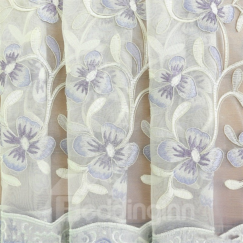 European Style Pastoral Beige Embroidered Flower 2 Panels Custom Sheer Curtain