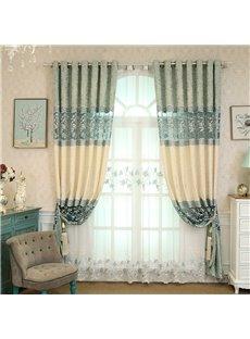 European Style Fresh Light Blue Embroidered Flowers Custom Living Room Sheer Curtain