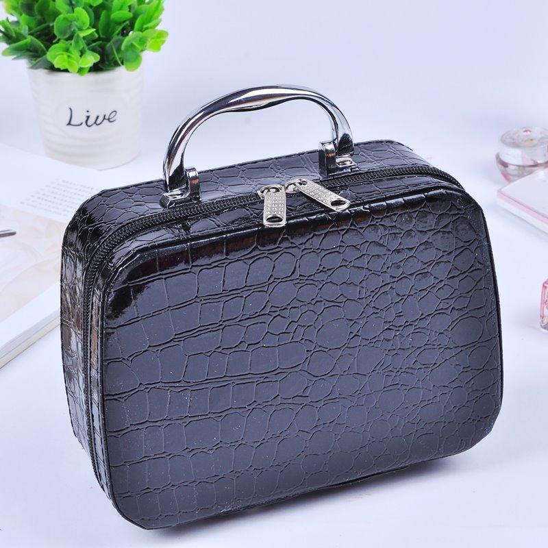 Black Rectangular Cube Zippers PU Waterproof Containable Makeup Bag