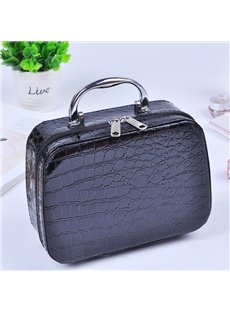 Black Rectangular Cube Zippers PU Waterproof Containable Makeup Bag