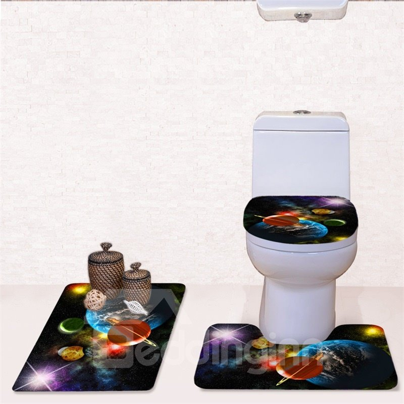 Operating Planets Pattern 3-Piece Flannel PVC Soft Water-Absorption Anti-slid Toilet Seat Covers