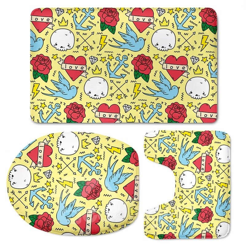 Flowers Birds Pattern 3-Piece Flannel PVC Soft Water-Absorption Anti-slid Toilet Seat Covers
