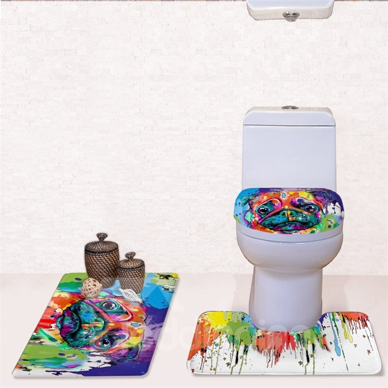 Dog Splash-ink Pattern 3-Piece Flannel PVC Soft Water-Absorption Anti-slid Toilet Seat Covers