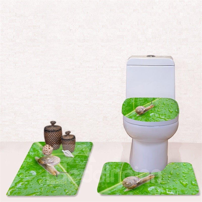 Crawling Snail Pattern 3-Piece Flannel PVC Soft Water-Absorption Anti-slid Toilet Seat Covers
