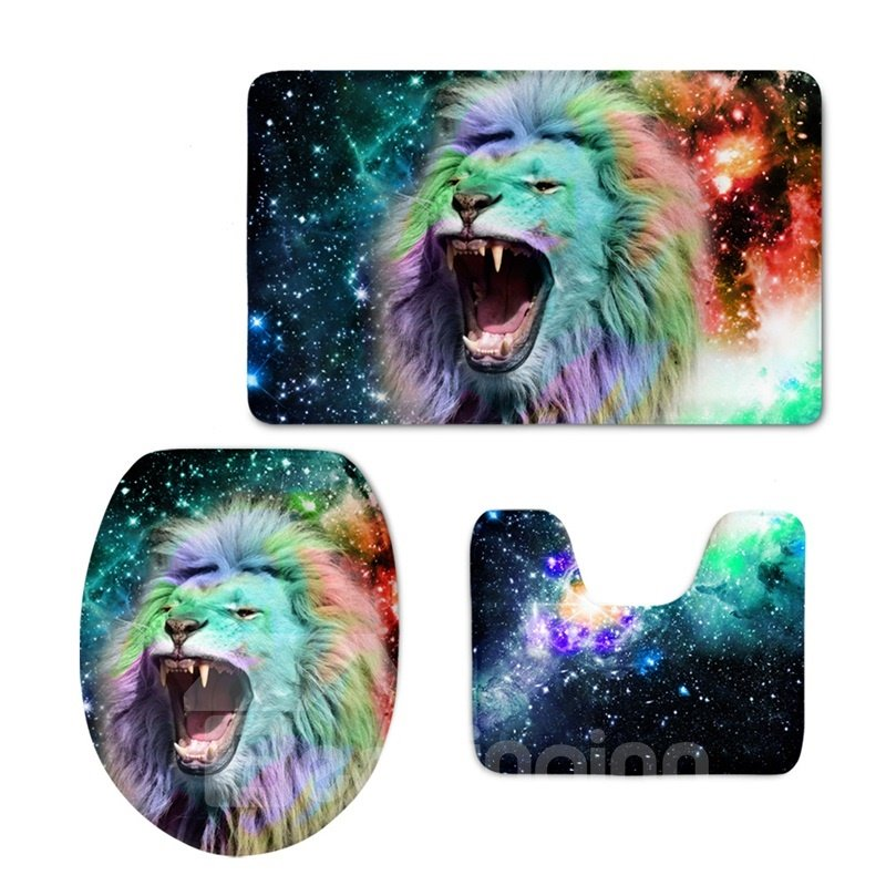 Lion in Galaxy Pattern 3-Piece Flannel PVC Soft Water-Absorption Anti-slid Toilet Seat Covers