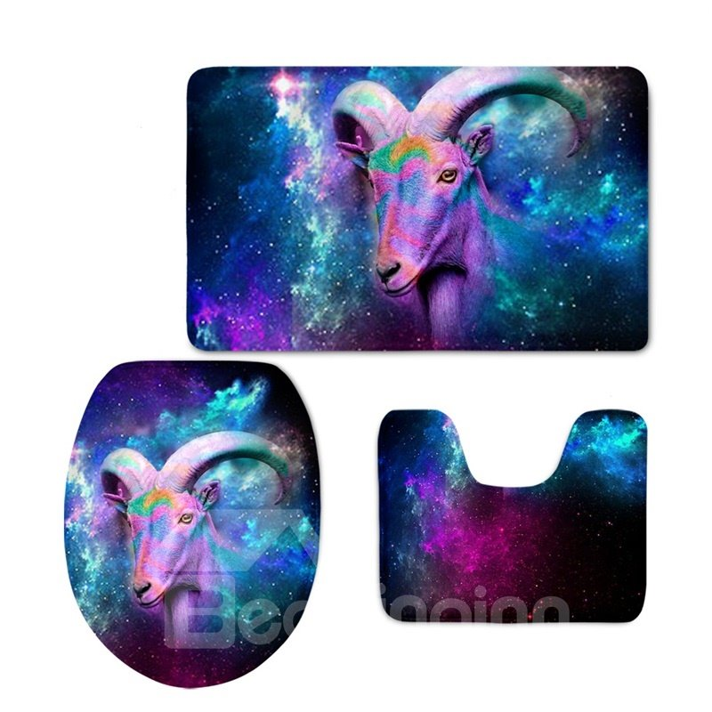 Goat Pattern 3-Piece Flannel PVC Soft Water-Absorption Anti-slid Galactic Toilet Seat Covers