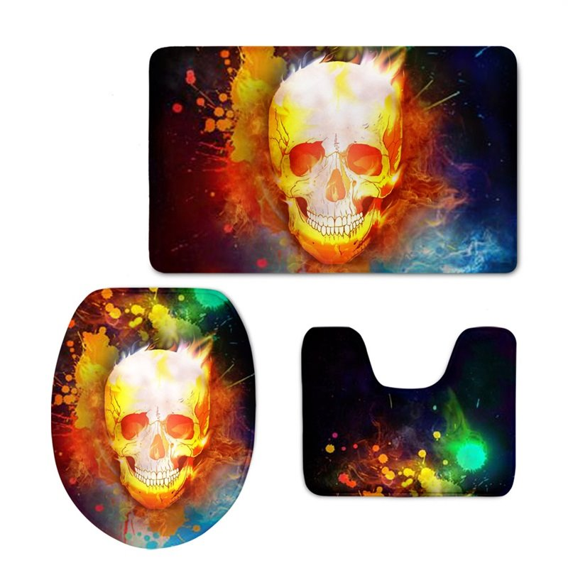 Fire Skull Pattern 3-Piece Flannel PVC Soft Water-Absorption Anti-slid Toilet Seat Covers