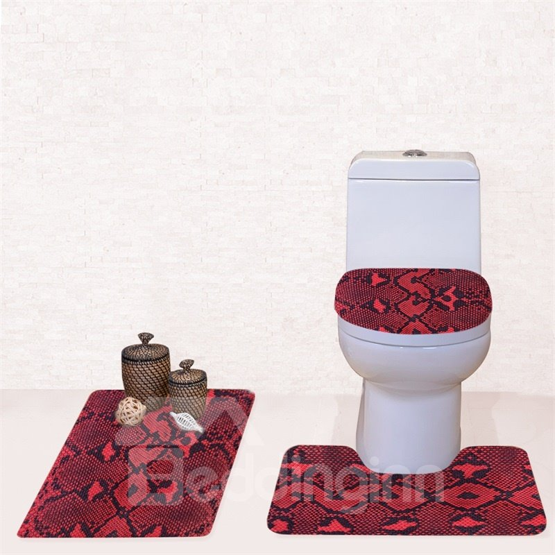 Red Rug Pattern 3-piece Flannel Pvc Soft Water-absorption Anti-slid Toilet Seat Covers