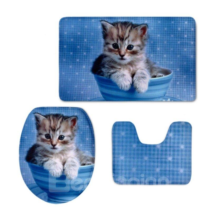 Blue Background Kitten Pattern 3-Piece Flannel PVC Soft Water-Absorption Anti-slid Toilet Seat Covers