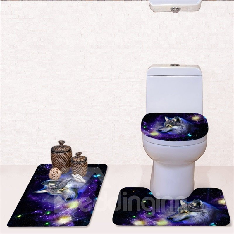 Wolf Galaxy Pattern 3-Piece Flannel PVC Soft Water-Absorption Anti-slid Toilet Seat Covers