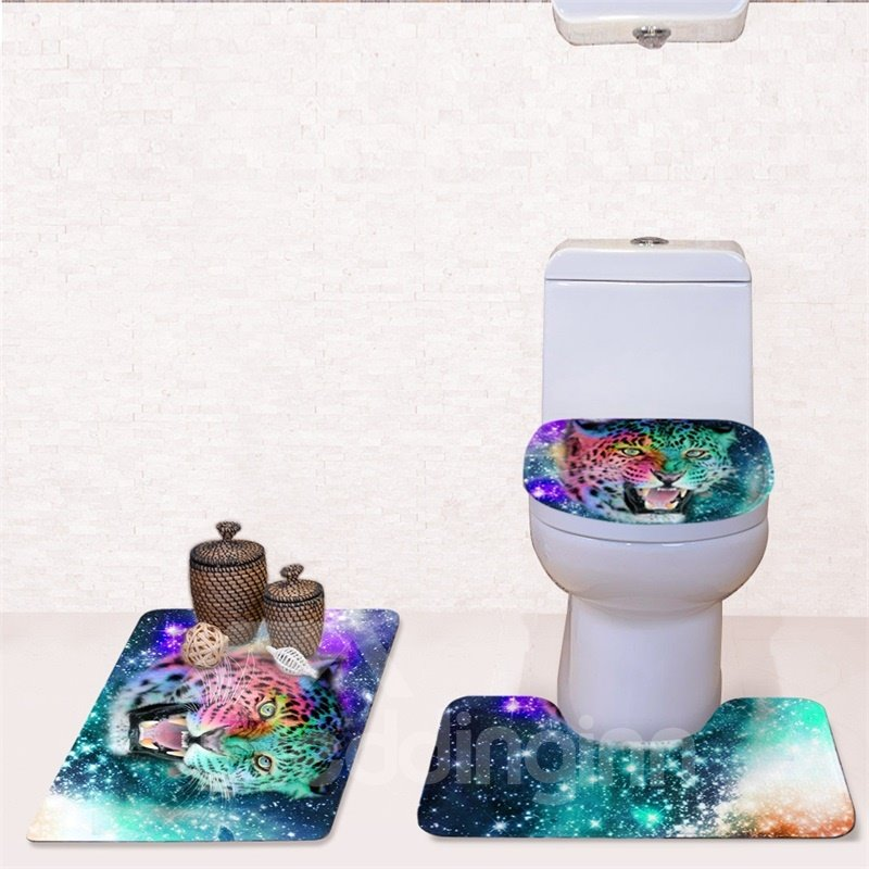 Leopard Pattern 3-Piece Flannel PVC Soft Water-Absorption Anti-slid Toilet Seat Covers