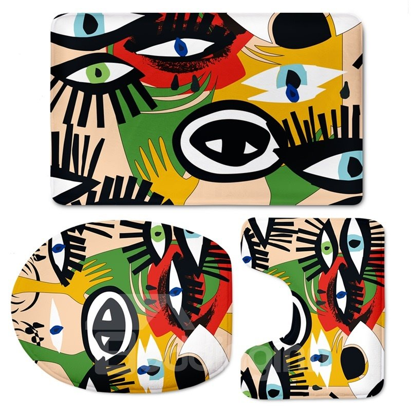 Eyes Pattern 3-Piece Flannel PVC Soft Water-Absorption Anti-slid Toilet Seat Covers