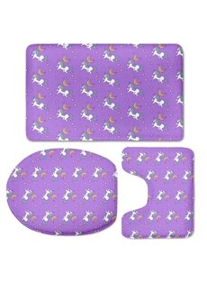 Purple Background Unicorns Pattern 3-Piece Flannel PVC Soft Water-Absorption Anti-slid Toilet Seat Covers