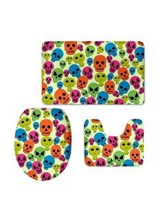 Skulls Spirits Pattern 3-Piece Flannel PVC Soft Water-Absorption Anti-slid Toilet Seat Covers