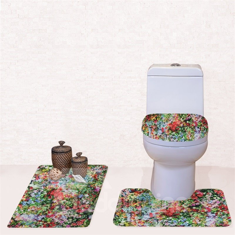 Flowers Pattern 3-Piece Flannel PVC Soft Water-Absorption Anti-slid Toilet Seat Covers