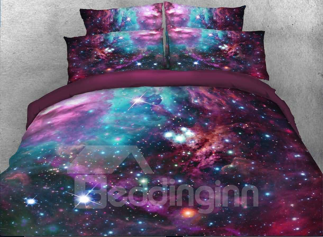 3d Stars Multicolored Galaxy Printed 5 Piece Comforter Sets Pic