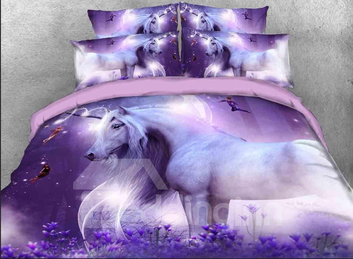 3d Unicorn Fairies Printed 5 Piece Purple Comforter Sets Pic