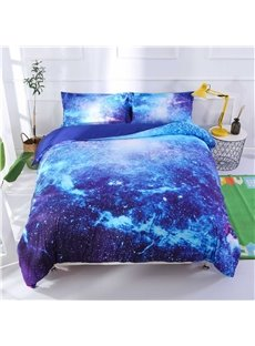 Onlwe 3D Space Galaxy Printed 5-Piece Fluorescent Blue Comforter Sets
