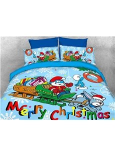 Papa Smurf Merry Christmas Holiday Kids Bedding Sets/Duvet Covers