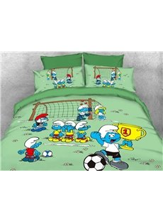Soccer Smurf Win Trophy at the Match Kids Bedding Sets/Duvet Covers