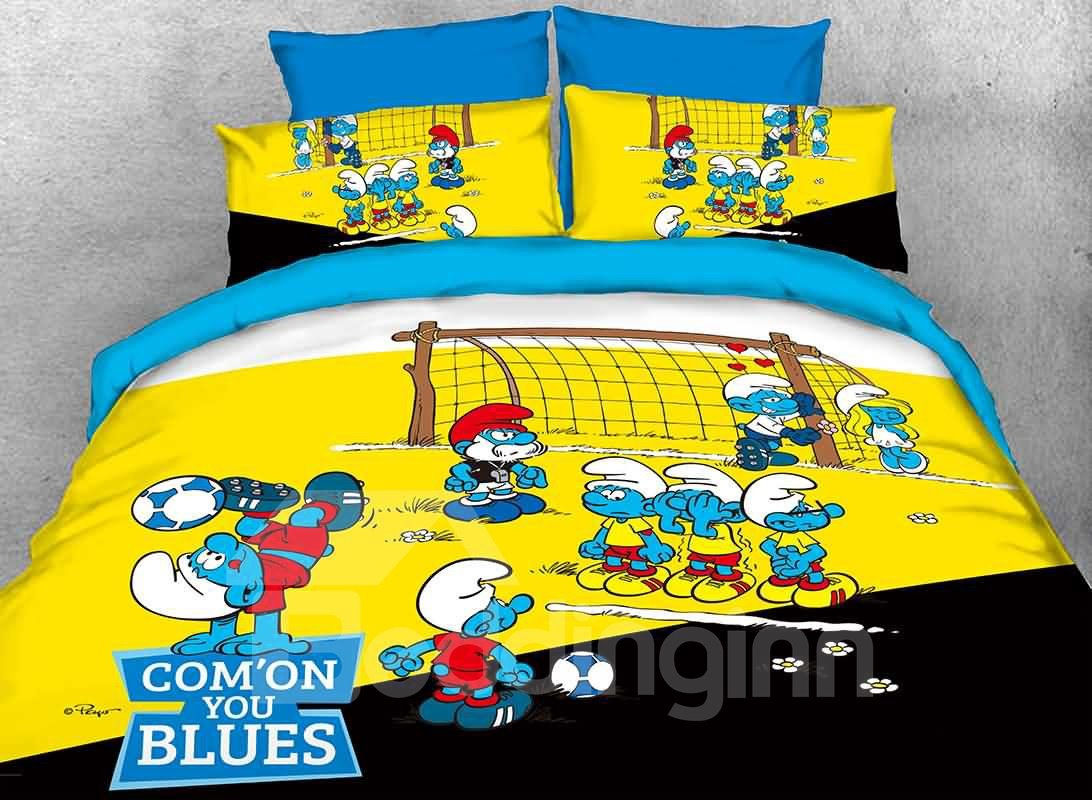 The Smurfs Play in Football Match Printed Twin 3-Piece Kids Bedding Sets/Duvet Covers