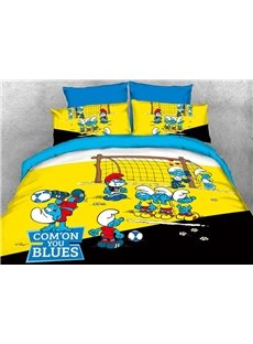 The Smurfs Play in Football Match Printed Kids Bedding Sets/Duvet Covers