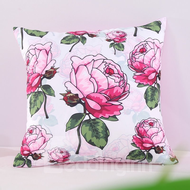 Elegant Pink Peony Blossom Pastoral Style Decorative Square Polyester Throw Pillowcases