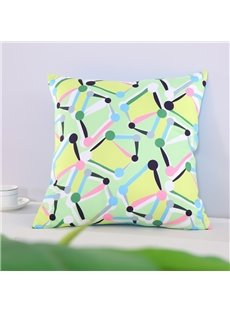 Yellow Spotted Flashbulb Printed Decorative Square Cotton Throw Pillowcases